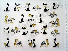 Cats Kittens Love You Black Gold 3d Nail Art Stickers JH027
