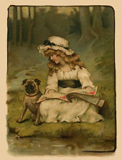PUG CHARMING DOG GREETINGS NOTE CARD LITTLE GIRL WITH BEAUTIFUL PUG BY A STREAM