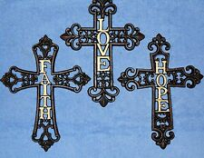 3 Crosses - Black Metal Cross Wall Hanging Decor With FAITH HOPE & LOVE in Gold