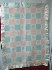 Vintage blue pink white Baby Blanket wool blend wide satin border Tulips Flowers
