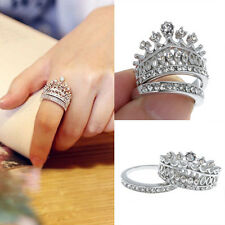 Women's Queen Crown Pattern Ring Set Rhinestones Two-piece Rings Natural Size 5