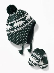 NWT Old Navy Boy's Trapper Hat and Mitten Set - Green - Dinosaurs - S