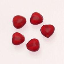 Perle en verre petit coeur 10mm couleur rubis transparent (x 5)
