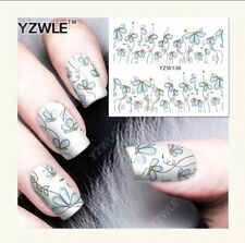 Whimsical Blue Flowers Nail Art Water Transfer Decal, New