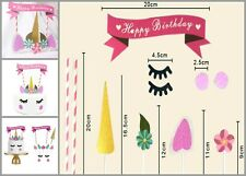 Handmade Pink Unicorn Party Cake Topper Set Cupcake Decoration Party Supplies