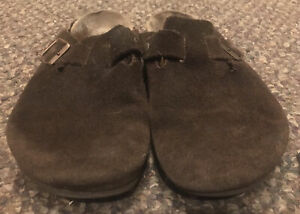 Birkenstock Boston dark brown leather slide ons Size 41 L10 M8 Used See Photos
