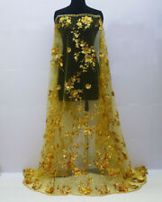 1 Meter Flower Sequins Mesh Embroidery Gold Metal Dress Bridal Lace Fabric