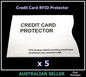 New 5 x CREDIT CARD PROTECTOR RFID Wallet Sleeve Blocking Security Theft Scan