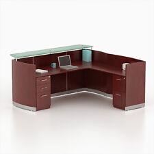 Reversible Mahogany Laminate L Shape Reception Desk Textured Glass Counter