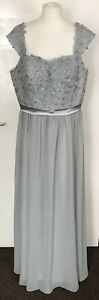 Womens Silver Grey Evening Dress Wedding Bridesmaid Long Party Prom Size 16-18