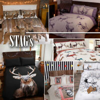 Highland Stag Collection Duvet Quilt Cover Bed Set + Pillowcases in 6 designs