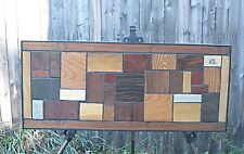 Vintage Modern Exotic Wood Wall art Panel Sculpture Mid Century Signed Keen