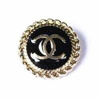 STAMPED RARE One 1 pieces Chanel button 21  mm 1 inch gold & black