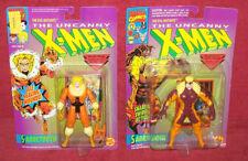2 SABRETOOTH Toy Biz Figures on Card swipe 1992 self healing New X-Men Marvel