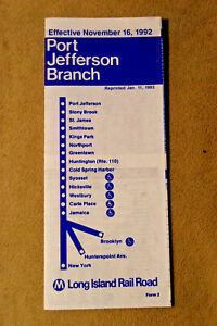 Long Island Railroad Timetable - Port Jefferson Branch - Nov 16, 1992