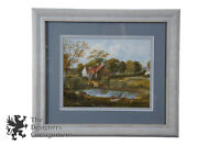 20th C. English Countryside Watercolor Landscape Painting Farm Scene Cottage