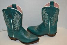 Roper Girls 12 M Chiefs Burnished Blue Turquoise Native Embroidered Cowgirl Boot
