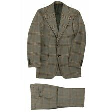 """Vintage 70""""s Men's Glen Plaid Polyester Disco Flat Front Suit Size 36 27X32"""