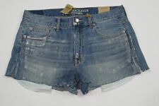 NWT- AMERICAN EAGLE Vintage High Rise Festival Cut-off Silver Coated shorts 10