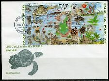 PALAU 1995 LIFE CYCLE OF THE SEA TURTLE SET FIRST DAY COVER
