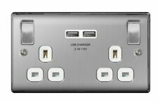 USB Electrical Double Wall Socket Brushed Steel With White Inserts BRITISH 3.1A