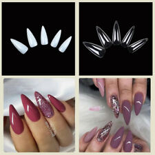Long Almond / Stiletto Acrylic Fake Nail Tips Full Cover Clear / Natural 12 Size