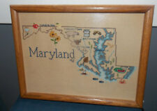 """Unique Vintage""""Map Of Maryland""""Signed Needlepoint Sampler!Ocean City/Annapolis/"""