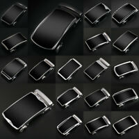 Luxury Mens Black Leather Ratchet Belt Automatic Buckle Waistband Strap Waist