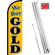 We Buy Gold (Gold/Black) Windless-Style Feather Flag Bundle 14' OR Replacement F