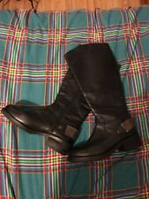 Ladies Moda In Pelle Boots Long Black Leather Uk Size 3 GC