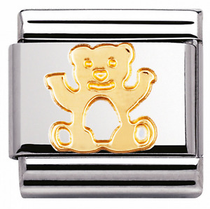 Nomination Composable Classic Gold And CZ TEDDY BEAR Charm Gold Pink Blue Green