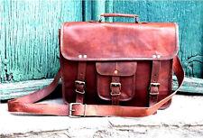 """New Men's Vintage Brown Leather Messenger Bag Shoulder Laptop Bag Briefcase 15"""""""