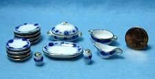 Dollhouse Miniature China Dinnerware and Tableware Pieces - Blue Floral MT709