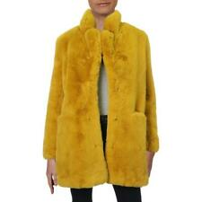 Apparis Womens Sophie Yellow Winter Midi Faux Fur Coat Outerwear L BHFO 2402