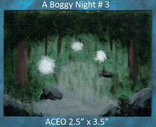 Original ACEO, A Boggy Night #3- #8, acrylic painting, Signed Michelangelo Paris