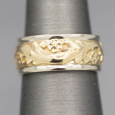 Vintage ArtCarved Two Tone Floral Engraved Band Ring in White and Yellow Gold 14