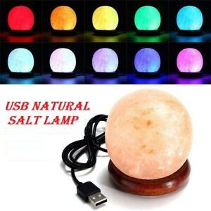 USB Colour Changing Himalayan Pink Salt Lamp Rock Light Lamps Multicolour Ball