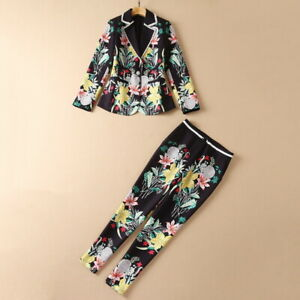 wholesale Halloween Day runway Lapel neck Long sleeves Button Print Pants suits