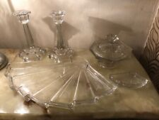 Beautiful Art Deco Sunburst Clear Glass Dressing Table Set