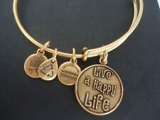 Alex and Ani LIVE A HAPPY LIFE  Russian Gold Charm Bangle New W/ Tag Card & Box