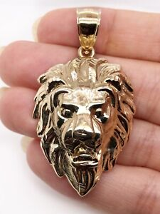 """Mens 10K Solid Yellow Gold Lion Head Face Pendant Charm 5.4 Grams, 1.85"""" Large"""