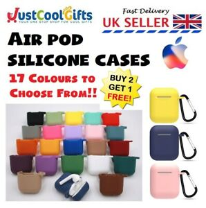 Apple Air pods Case Silicone Waterproof Cover Skin Strap Key Ring UK
