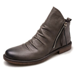 Mens Leather Zip Up Casual Walking Combat Army Chic Ankle Biker Boots Shoes Size