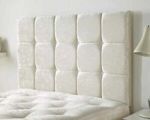 Luxury Upholstered Cubes Buttoned Plush Velvet Wall or Divan Bed Headboard