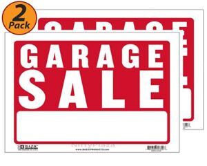 """2 Pack - Garage Sale Sign 9""""x12"""" Durable Plastic, Weatherproof, Bright Visible"""