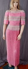 Vtg Mary McFadden Couture Pink Plisse Pleated Beaded Evening Gown Bridal