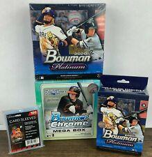 2020 Topps Bowman Chrome + Platinum MLB Trading Cards Mega Blaster & Hanger Box
