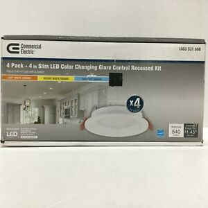 """Commercial Electric 4"""" Slim LED Color Changing Glare Control Recessed Kit 4 pack"""