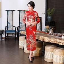 Chinese Long Cheongsam Women Silk Satin Dress Ball Costume S-6XL