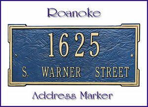 Whitehall Roanoke Address Marker Personalized Plaque 17 Color Choices No Rust